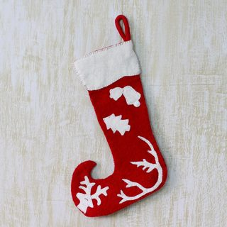 Handcrafted Wool 'Holiday Spirit' Christmas Stocking (India)