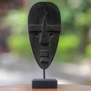Handcrafted Albesia Wood Iron 'Ancestral Icon' Mask (Indonesia)