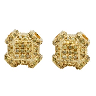 Elora 10k Yellow Gold 1/3ct TDW Round Yellow Diamond Fashion Micropave Stud Earrings (I2-I3)