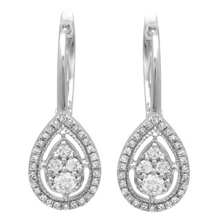 Elora 14k White Gold 1/2ct TDW White Diamond Pear-shaped Drop Earrings (I-J, I1-I2)