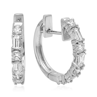 Elora 14k White Gold 1/2ct TDW Round Baguette-cut White Diamond Hoop Earrings (I-J, I1-I2)
