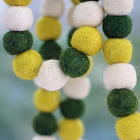 Handmade Wool 'Lemon Lime Pompoms' Christmas Tree Garland (India)