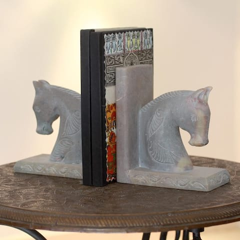 Handmade Set of 2 Soapstone 'Pretty Ponies' Bookends (India)