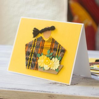 Set of 4 Handcrafted Cotton 'Sacatepequez Florist' Greeting Cards (Guatemala)