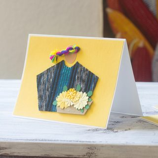 Set of 4 Handcrafted Paper Reed 'Atitlan Florist' Greeting Cards (Guatemala)
