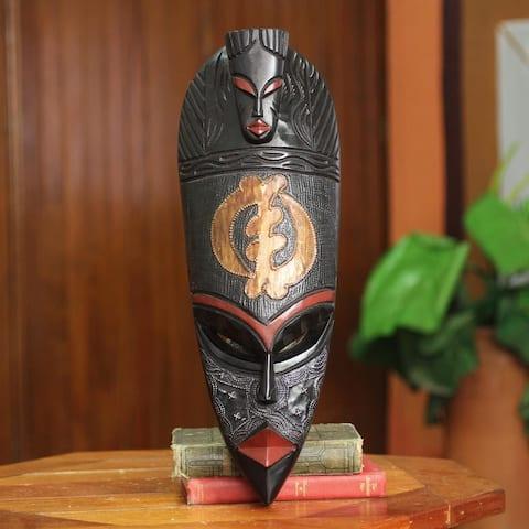 Handmade Sese Wood 'Gye Nyame Adinkra' African Wall Mask (Ghana)