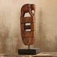 Handmade Rain Tree Wood 'Elephant Loom Heirloom' Sculpture (Thailand)