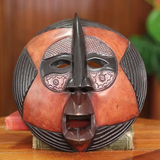 Handcrafted Sese Wood 'Star Voyager' African Wall Mask (Ghana)