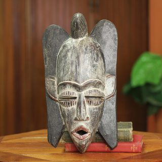 Handcrafted Sese Wood 'Wings' African Wall Mask (Ghana)
