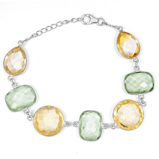 Orchid Jewelry 925 Sterling Silver 62 2/5 Carat Green Amethyst and Citrine Bracelet