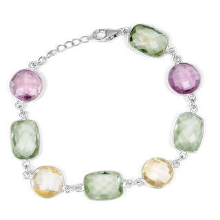 Orchid Jewelry 925 Sterling Silver 41 3/5 Carat Green Amethyst, Purple Amethyst and Citrine Bracelet