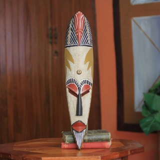 Handcrafted Sese Wood 'Sankofa Bird' African Wall Mask (Ghana)