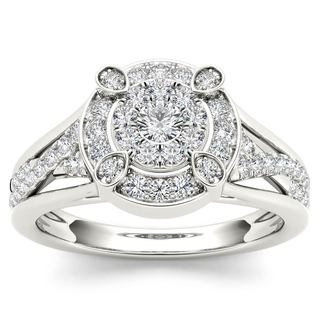 De Couer 10k White Gold 1/2ct TDW Diamond Halo Engagement Ring (H-I,I2)