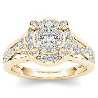 De Couer 10k Yellow Gold 1/2ct TDW Diamond Halo Engagement Ring (H-I,I2)