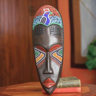 Handcrafted Sese Wood 'Victorious Rooster' African Wall Mask (Ghana)