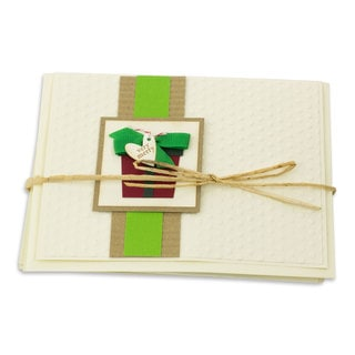 Set of 4 Handmade Paper Reed 'Very Merry' Christmas Greeting Cards (Guatemala)
