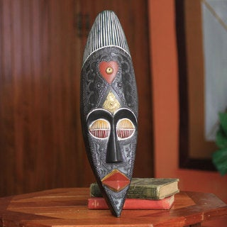 Handcrafted Sese Wood 'Love' African Wall Mask (Ghana)