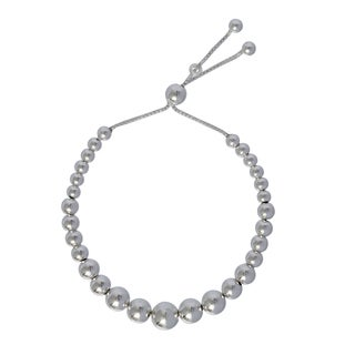Sterling Silver Bead 9-inch Adjustable Bracelet