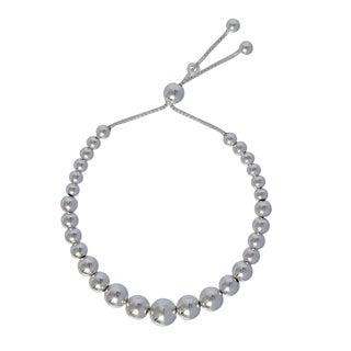 Sterling Silver Bead 9-inch Adjustable Bracelet