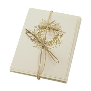 Set of 4 Handcrafted Paper Reed 'Golden Wishes' Christmas Greeting Cards (Guatemala)
