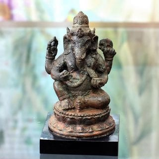 Handcrafted Bronze 'Hindu Lord Ganesha' Sculpture (Indonesia)