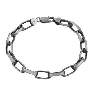 Men's Sterling Silver 7.8-millimeter Open Link Rolo Chain Bracelet