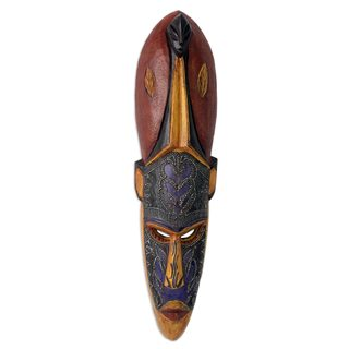 Handmade Sese Wood 'Be Victorious' African Wall Mask (Ghana)