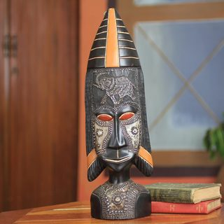Handcrafted Sese Wood 'Fulani' African Wall Mask (Ghana)