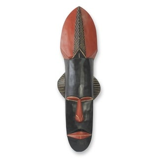 Handcrafted Sese Wood 'Wisdom' African Wall Mask (Ghana)