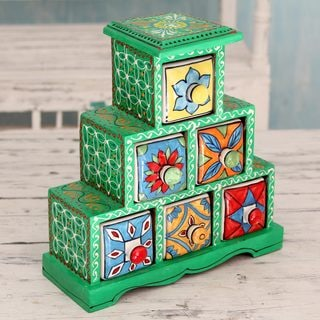 Handcrafted Mango Wood Ceramic 'Verdant Holi' Decorative Box with Drawers (India)