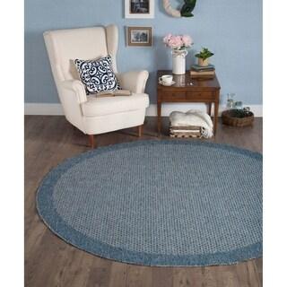 Seros Modern Denim Blue Polypropylene Indoor/Outdoor Area Rug - 7'3 round