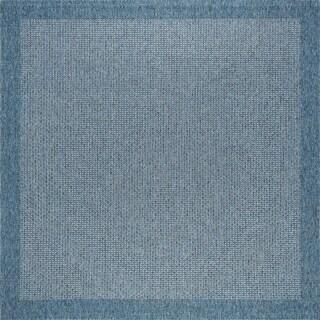 Seros Modern Denim Blue Indoor/Outdoor Area Rug - 7'3 x 7'2