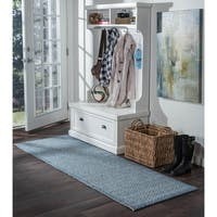 Seros Modern Denim Blue Indoor/Outdoor Rug Runner - 2'4 x 10'9