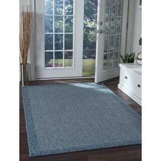 Seros Modern Denim Blue Polypropylene Indoor/Outdoor Area Rug (5' x 7'3)