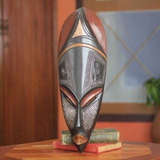 Handcrafted Sese Wood 'Obaapa' African Wall Mask (Ghana)