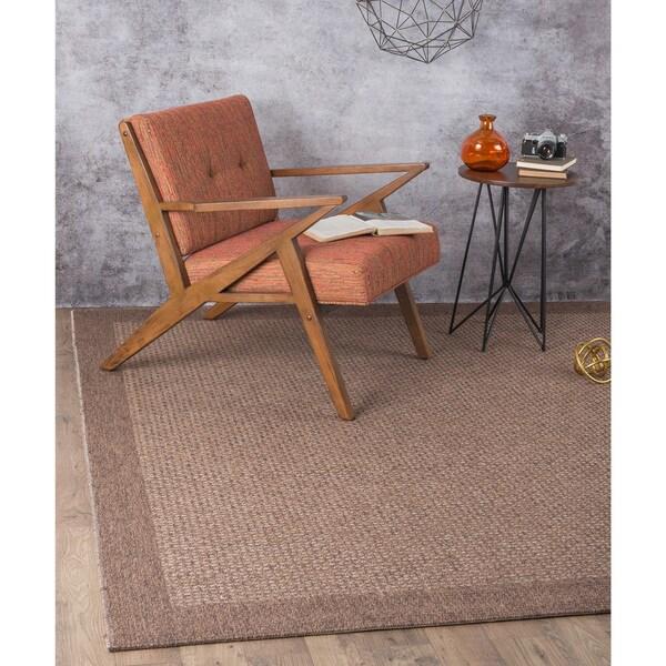 Seros Modern Mocha Brown Polypropylene Indoor Outdoor Area Rug 7 X27 6