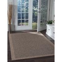 Seros Modern Natural-Black Polypropylene Indoor/Outdoor Area Rug (9'3 x 12'3)