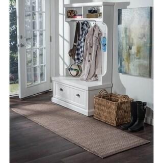 Seros Modern Mocha Polypropylene Indoor/Outdoor Runner Rug (2'6' x 11')