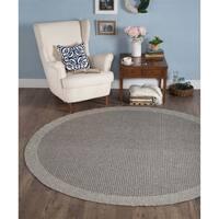 Seros Round Modern Charcoal Indoor/Outdoor Area Rug - 7'3
