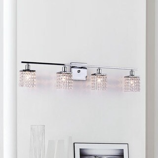Four-light Chrome/ Crystal Wall Sconce (As Is Item)