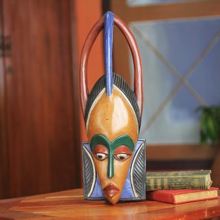 Handcrafted Sese Wood 'Odo' African Wall Mask (Ghana)