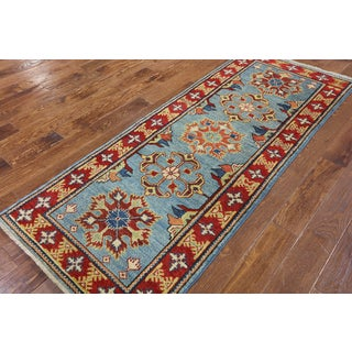 Super Kazak Oriental Blue Wool Hand-knotted Runner Rug (2'9 x 7'1)