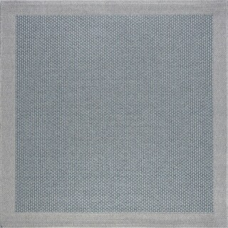 Seros Modern Light Blue Indoor/Outdoor Area Rug - 7'3 x 7'2