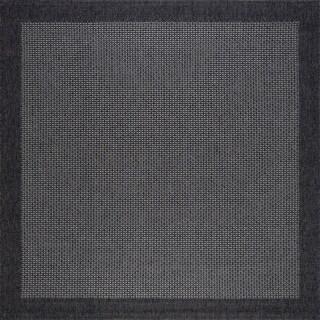 Seros Modern Black Polypropylene Indoor/Outdoor Area Rug - 7'3 x 7'2