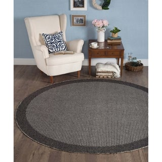 Seros Modern Black Polypropylene Round Indoor/Outdoor Area Rug (7'6 x 7'6)