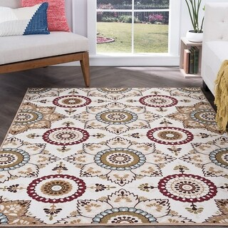 Majolica Cream Nylon Transitional Area Rug (3'11 x 5'3)