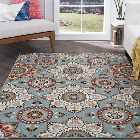 Alise Rugs Majolica Transitional Floral Area Rug - 9'3 x 12'6