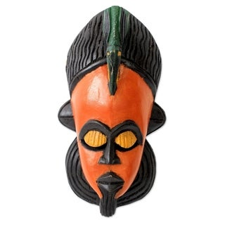 Handcrafted Sese Wood 'Painted Bird' African Wall Mask (Ghana)