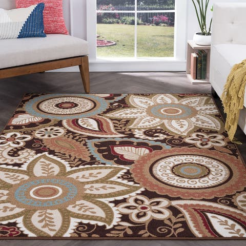 Alise Rugs Majolica Transitional Floral Area Rug - 6'7 x 9'6