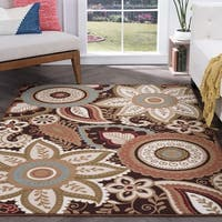 Majolica Brown Nylon Transitional Area Rug - 7'6 x 9'10